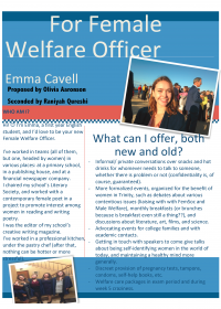 Emma Cavell – Female Welfare Officer