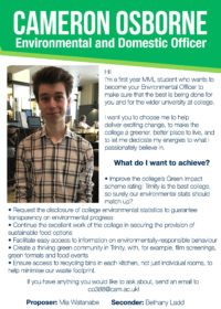 Cameron Osborne – Environmental and Domestic Officer