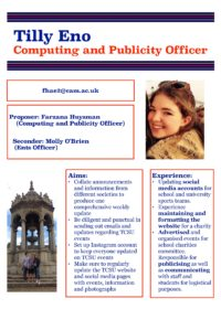Tilly Eno – Computing and Publicity Officer